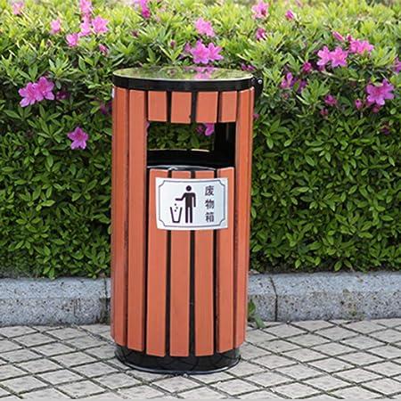 Seguro Y Sanitario Cubos De Basura para Exterior Saneamiento Al Aire Libre Calle Acero Madera Cubo De Basura Jardín Al Aire Libre Creativo Metal Plástico Galvanizado Madera: Amazon.es: Hogar