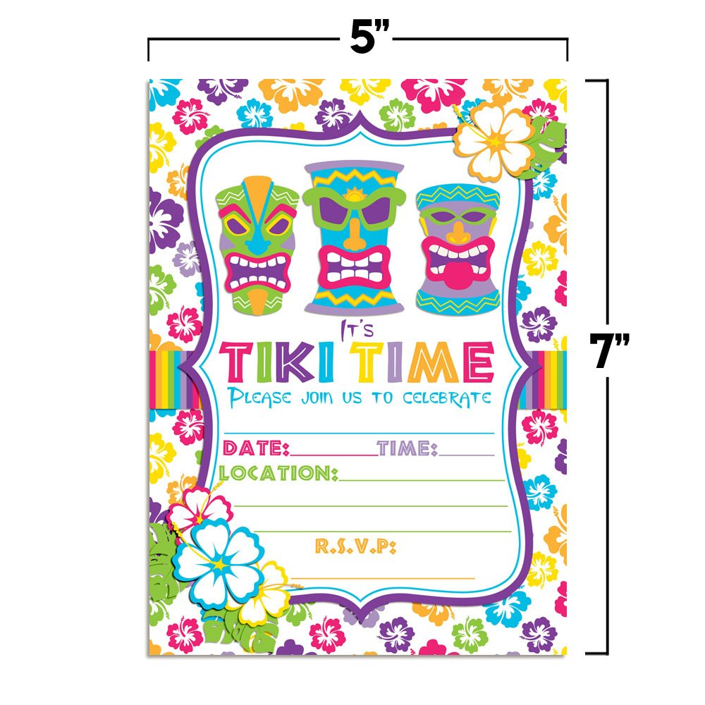 Amazon Amanda Creation Tiki Time Tropical Luau Birthday Party Invitations Set Of 20 Fill In Cards Including White Envelopes Toys Games