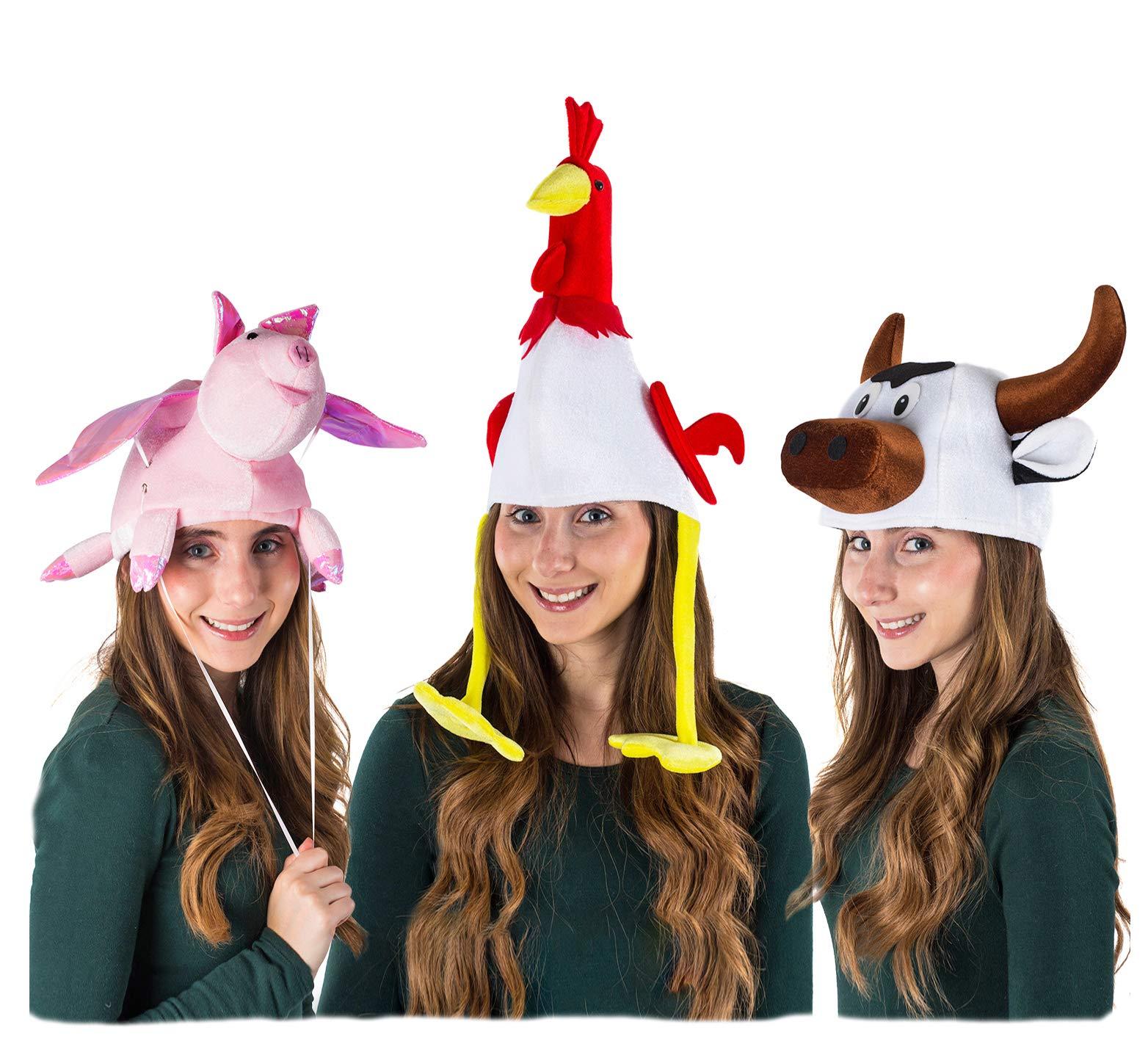 Tigerdoe Animal Costume Hats - 3 Pack - Farm Animal Hats - Farm Party - Dress Up - Farmer Theme Party