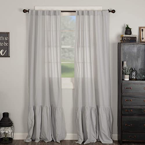 Piper Classics Annabelle Gray High Ruffle Panel Curtain