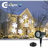Christmas Snowflakes Projector Light,Moving White Landscape LED Spotlight,Stake Lamp For Christmas Halloween Decorations Garden Holiday Decor Festival Party Outdoor Indoor Wall Patio Stage Home