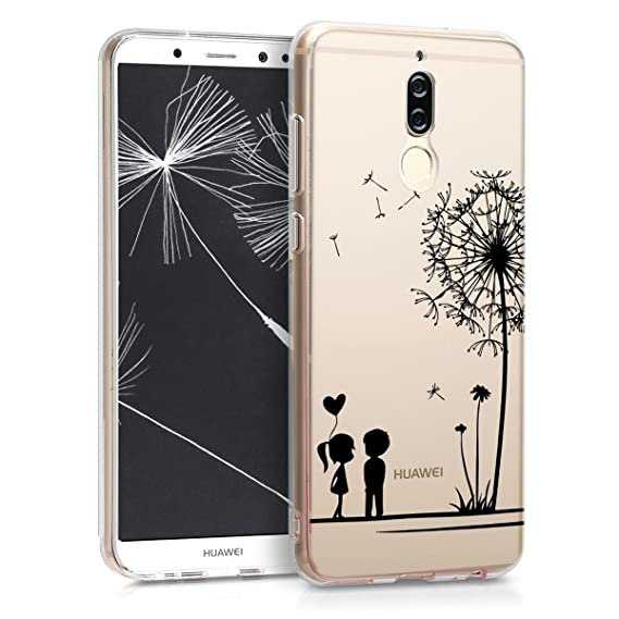 kwmobile TPU Silicone Case for Huawei Mate 10 Lite - Crystal Clear Smartphone Back Case Protective Cover - Black/Transparent