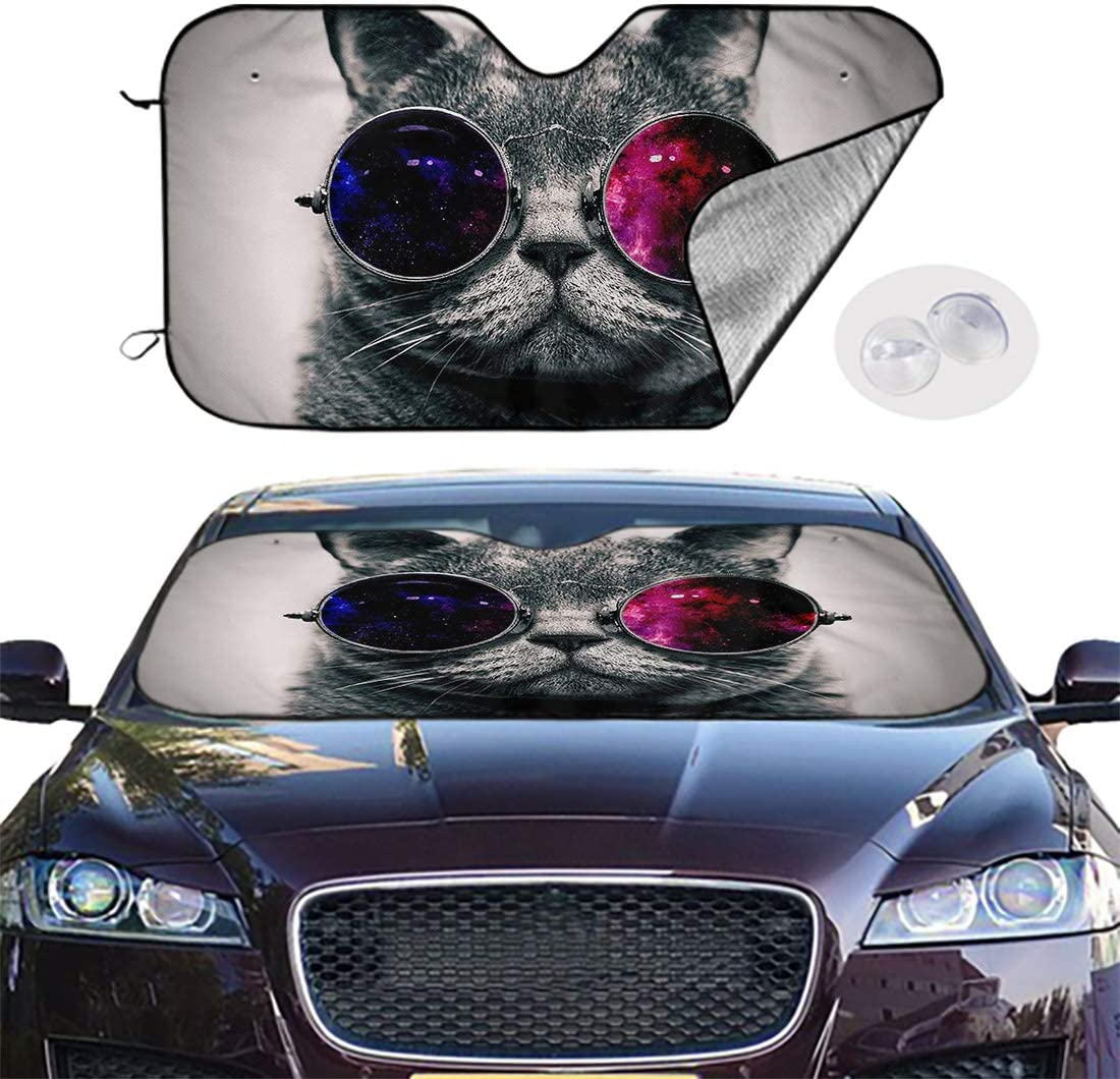 51x28 inches Cat Wearing Glamour Sunglasses Protector for All Vehicles and Keep Your Vehicle Cool Britimes Car Sun Shade for Windshield