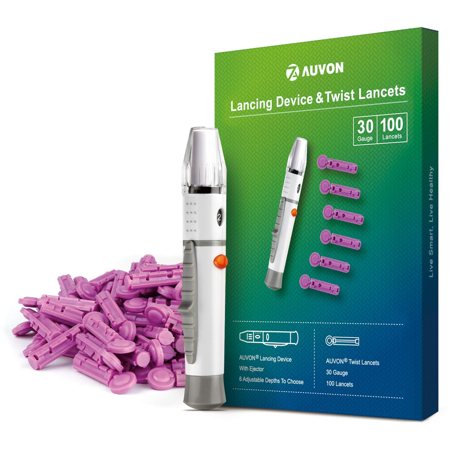 AUVON Lancets and Lancing Device Combo 30 Gauge 100 Lancets 30G Twist Top Lancets and Lancing Device