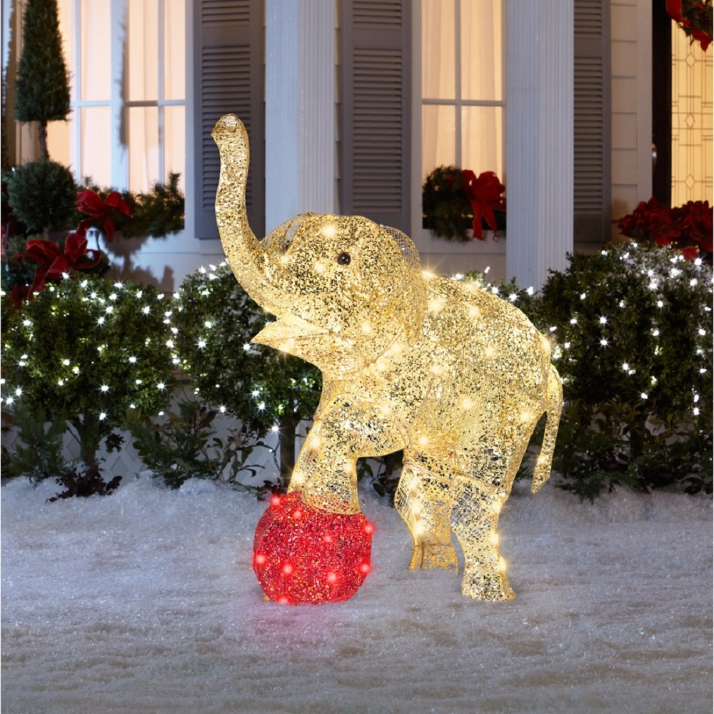 Amazon christmas 33 multicolor shimmering elephant amazon christmas 33 multicolor shimmering elephant sculpture with 70 led lights garden outdoor mozeypictures Images