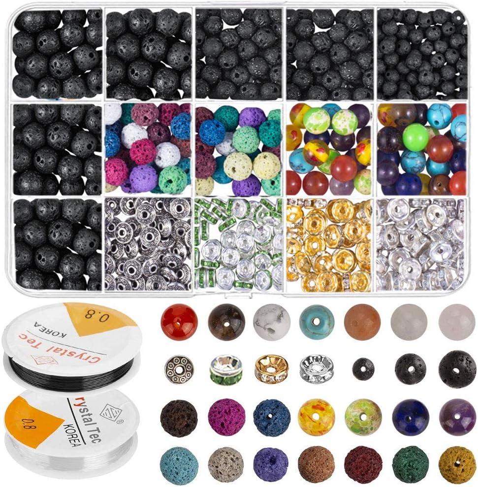 FOGAWA 606 PCS Lava Bead Set Rock Stone Chakra Beads de Colores Incluido Espaciador de Aleación de Zinc para la Fabricación de Pulseras de Joyería con 2 Rollos de Hilo Elástico