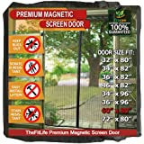 TheFitLife Magnetic Screen Door - Heavy Duty Mesh Curtain with Full Frame Hook and Loop Powerful Magnets That Snap Shut Automatically - 62''x81'' - Fits Doors up to 60''x80'' Max
