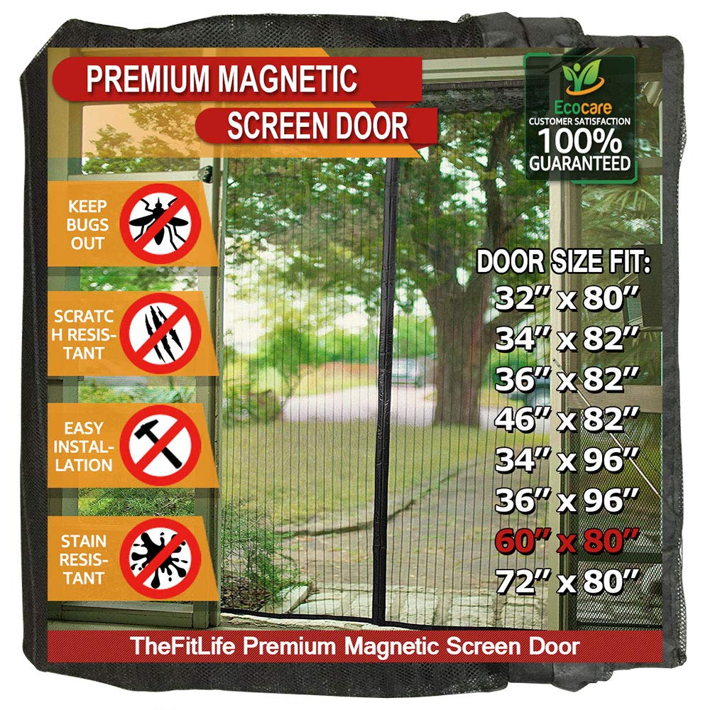 TheFitLife Magnetic Screen Door - Heavy Duty Mesh Curtain with Full Frame Velcro and Powerful Magnets That Snap Shut Automatically - 62''x81'' - Fits Doors up to 60''x80'' Max