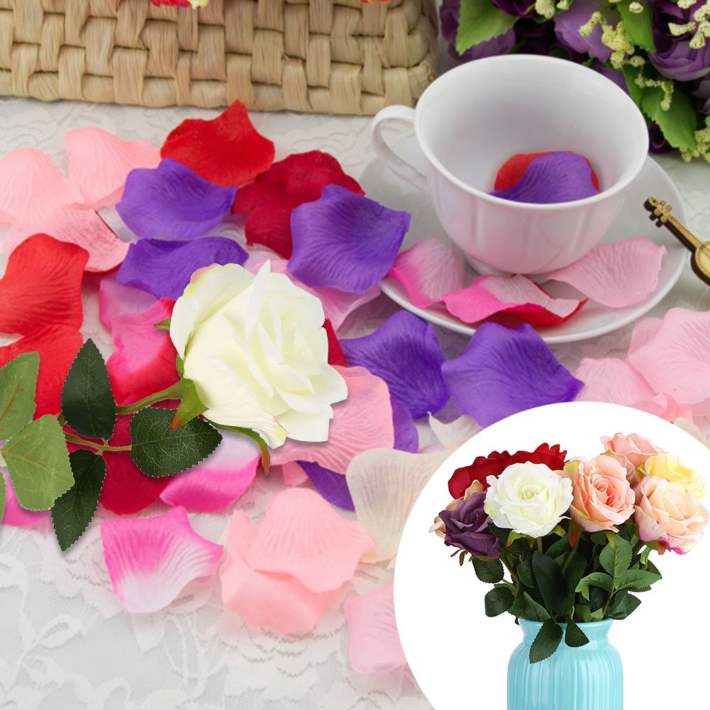 KICODE BigFamily Artificial 5 Flowers Peony Bouquet Home Wedding Decor Dark Pink