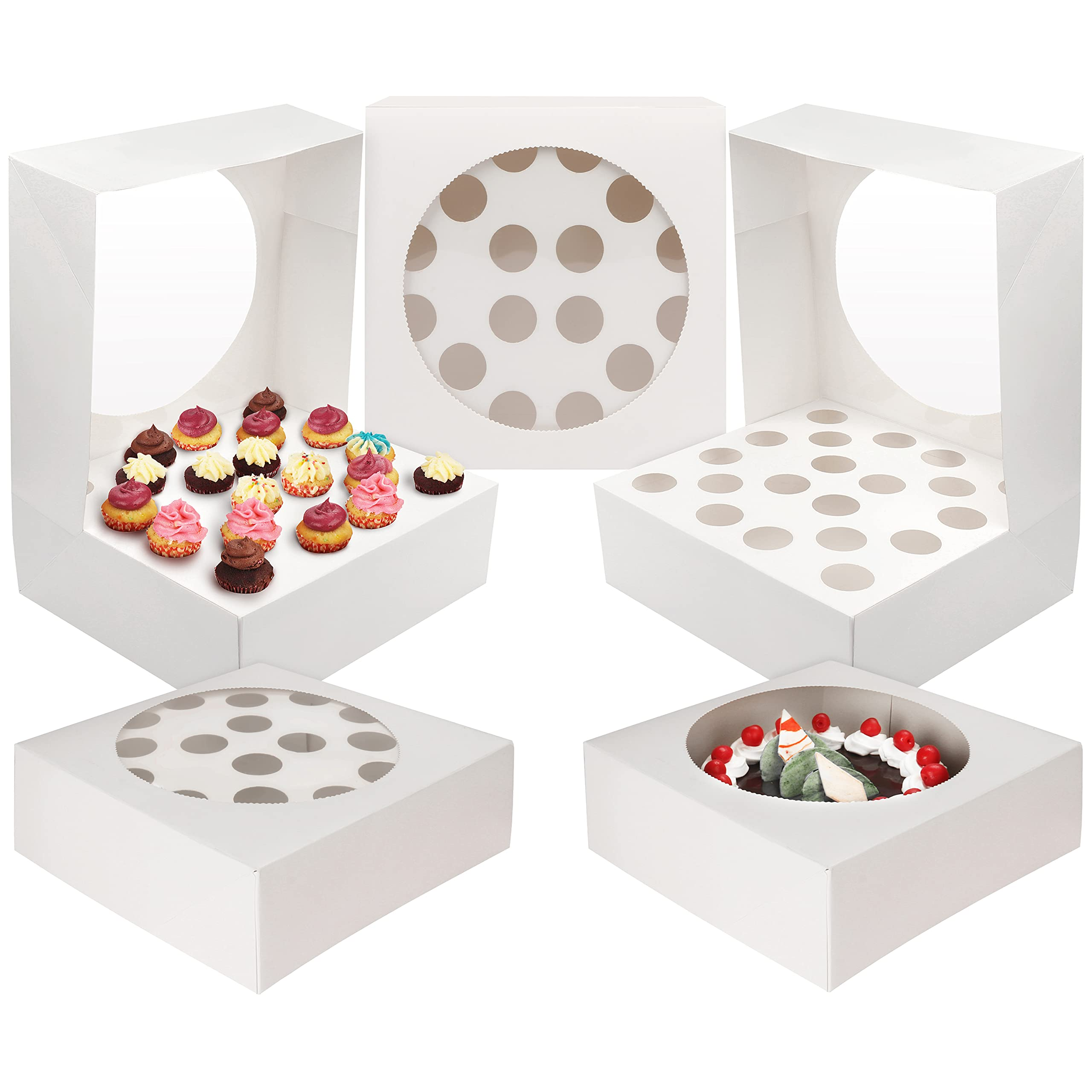 20 x Individual White Cupcake Boxes Presentation Fairy Cup Cake Insert NO Window