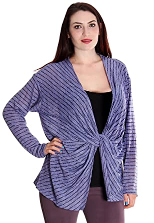 Yumi Los Angeles Plus Size Open Style Front Knot Violet Blouse Gsa 3