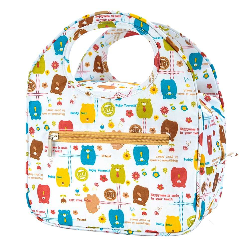 iSuperb Insulated Lunch Bag Box Tote Waterproof Cooler Bag Reusable with Adorable Animal Image Insulated Lunch Bags for Women Ladies Girls Children Kids Student Teenagers (Cute Bear White)