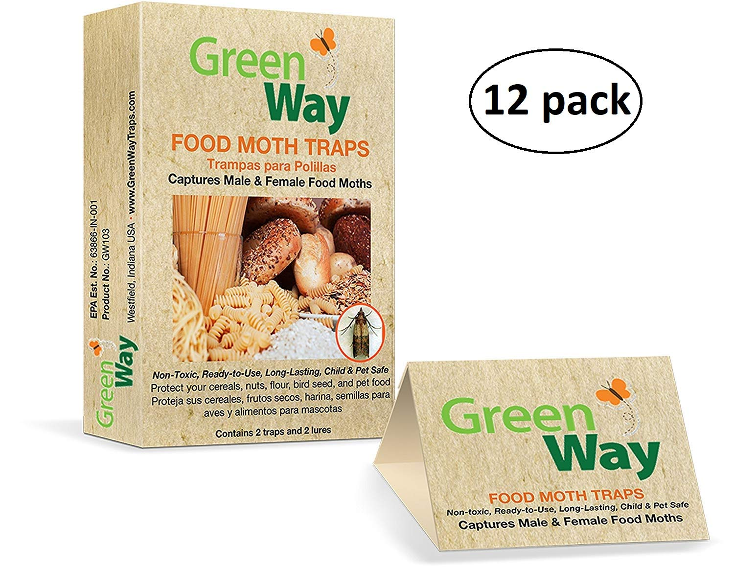 GreenWay Food Moth Trap - 12 Boxes - 24 Traps and Lures | Pheromone Attractant, Ready to Use | Safe, Non-Toxic with No Insecticides or Odor, Eco Friendly, Kid and Pet Safe by GreenWay