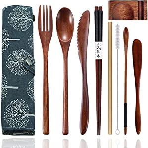Wooden Utensils for Eating Reusable Wooden Bamboo Cutlery Set with Case 9 Pcs Travel Utensils Wooden Bamboo Fork and Spoon Set Wood Flatware Set for Eating with Knife Fork Spoon Chopsticks Straw
