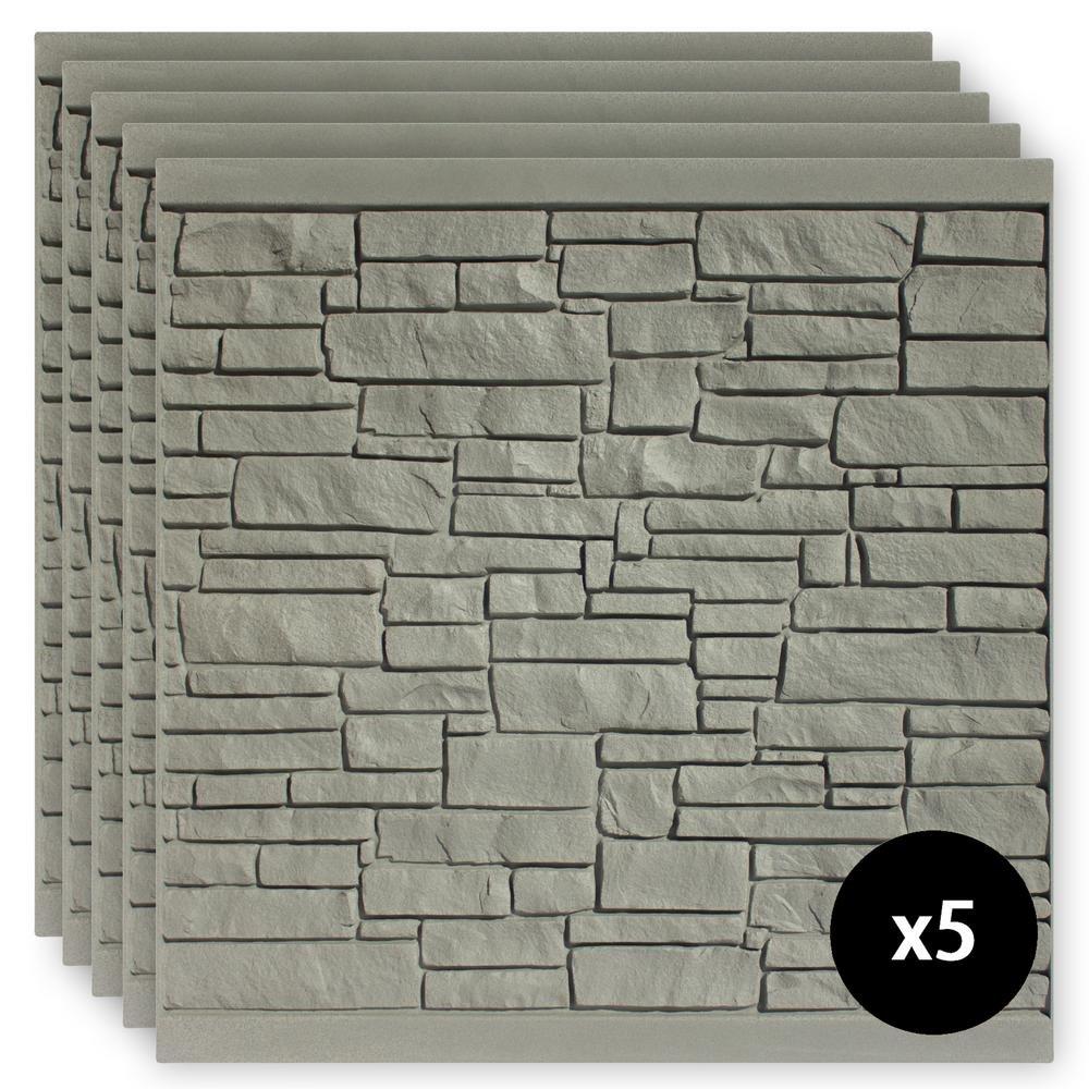 SimTek 6 ft. x 6 ft. EcoStone Gray Composite Fence Panel Pack