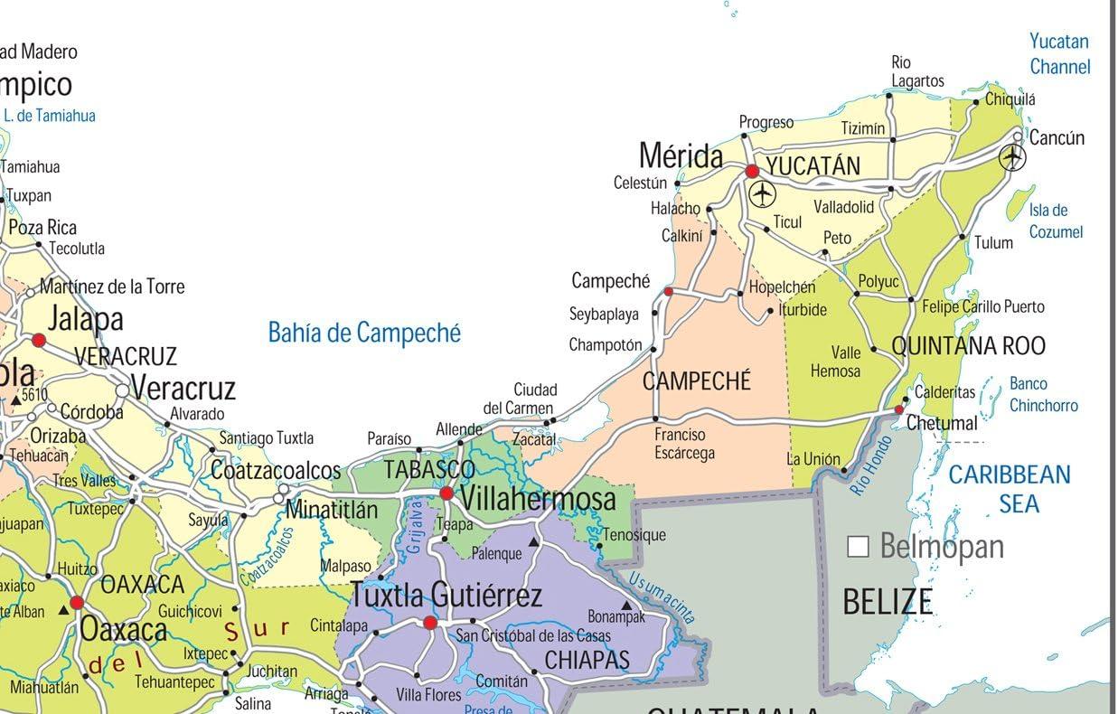 Cartina Geografica Politica Del Messico.Mappa Politica Del Messico Carta Laminata Ga Lingua Italiana Non Garantita A2 Size 42 X 59 4 Cm Amazon It Cancelleria E Prodotti Per Ufficio