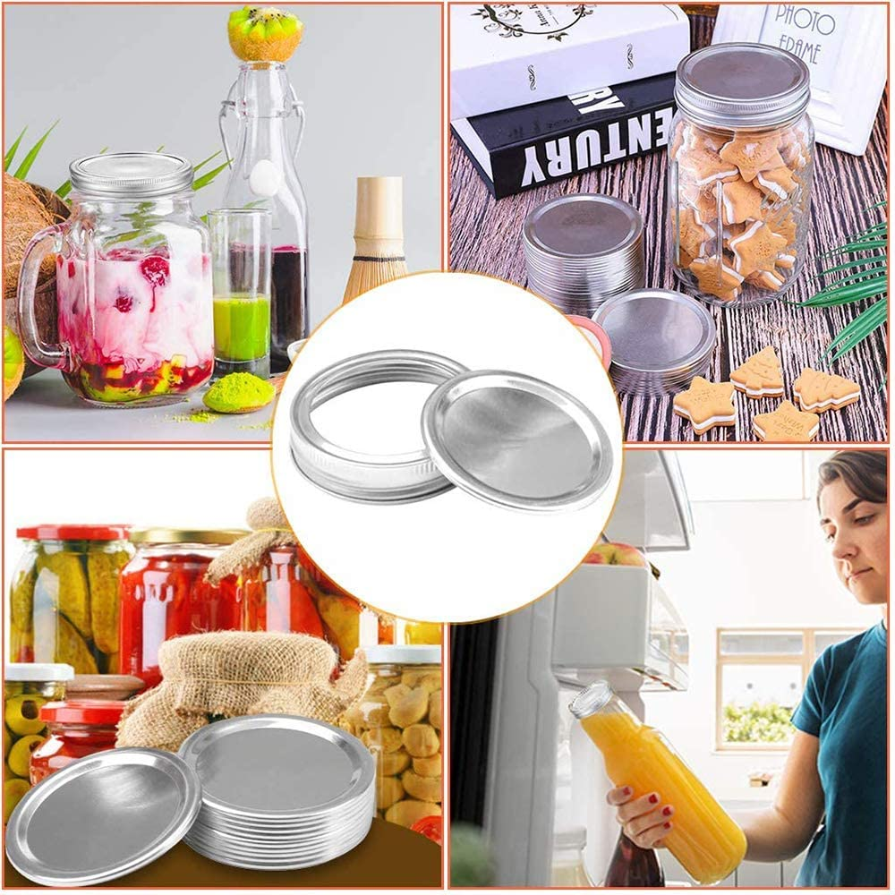 Canning Lids Regular Mouth Mason Jar Lids for Mason Jar Wide Mouth Split-Type Lids Leak Proof and Secure Canning/Storage Caps 70MM Circular Ring+Cover Sheet 12PCS
