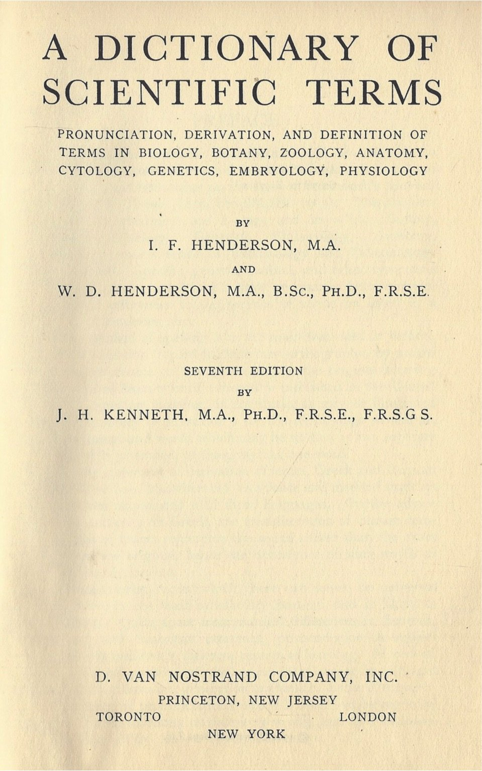 Dictionary of Scientific Terms: Henderson and W.D. Henderson: Amazon ...
