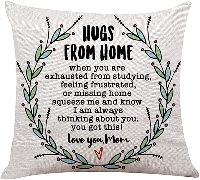 Ihopes Rustic Inspirational Quotes Pillow Covers Hugs From Home Pillow Case Cushion Cover For Sofa Couch Dorm Room Decor Gifts Best Graduation Going Away College Gifts 18 X 18 Inch Home Kitchen Amazon Com