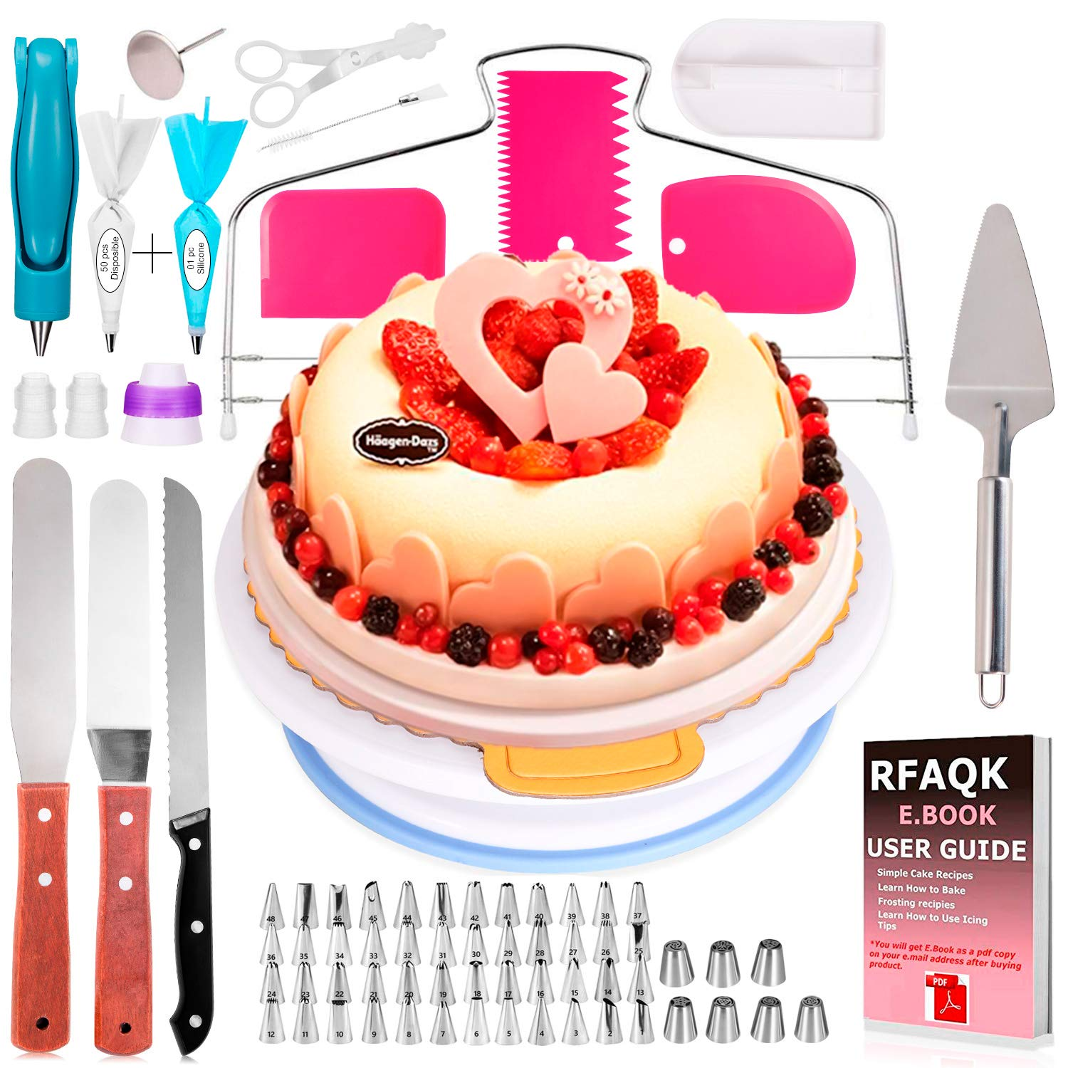 124 Pcs Cake Decorating Supplies Kit - Cake Turntable Stand, 48 Numbered Icing Tips, Piping Bags and Tips Set, Icing Spatulas and Scrapers, Pastry Tools for Baking Beginners