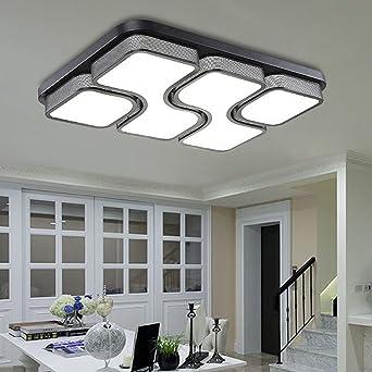 Etime 45W Design LED Deckenlampe Deckenleuchte Wohnzimmer Lampe Schlafzimmer Kche Leuchte 6000K Schwarz Rechteck 64x43CM