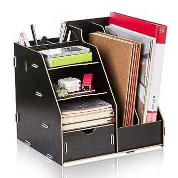 Amazon.com: Organizador de escritorio de madera de MotYYA, 4 ...