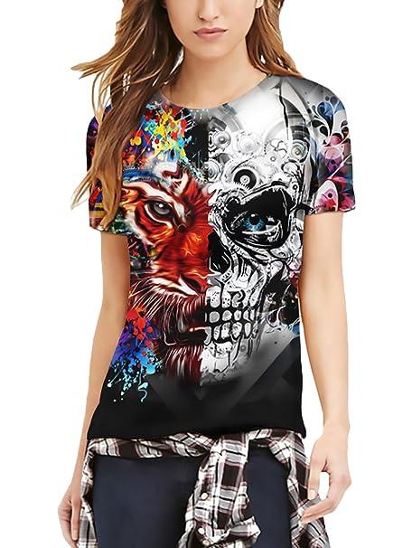 Camisetas Mujer Verano Manga Corta Cuello Redondo Slim Fit Camiseta Hippies Tops Modernas Moda Regalos San Valentin Divertidas Tigre Splice Calavera ...