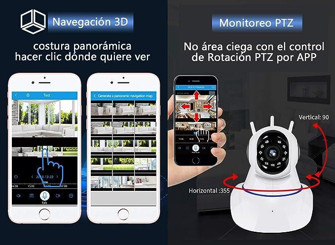 Xinllm Camara vigilancia WiFi Camara vigilancia Perros Monitores de beb/é para c/ámaras C/ámara IP C/ámara de Seguridad C/ámara Interior para Perros
