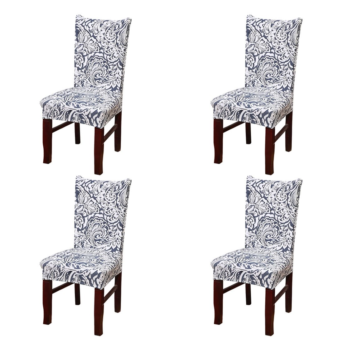 Soulfeel 4 x Soft Spandex Fit Stretch Short Dining Room Chair Covers with Printed Pattern, Banquet Chair Seat Protector Slipcover for Home Party Hotel Wedding Ceremony (Style 1)