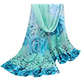 Vovotrade® 2016 Hot Sale!!!Women Flower Printed Silk Chiffon Shawl Wrap Scarf