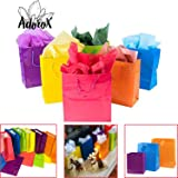 "Adorox 12 Assorted (13"" h x 10"" w x 4 1/2"" d) Bright Neon Colored Party Present Paper Gift Bags Birthday Wedding All Occasion"