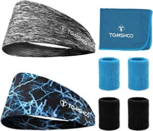 TOMSHOO Sport Athletic Headbands, Sports Wristbands, Cooling Towel Elastic Wicking Non Slip Lightweigh 8 Pcs Fitness Sweatband Set for Running, Yoga, Workouts and Gymnastic