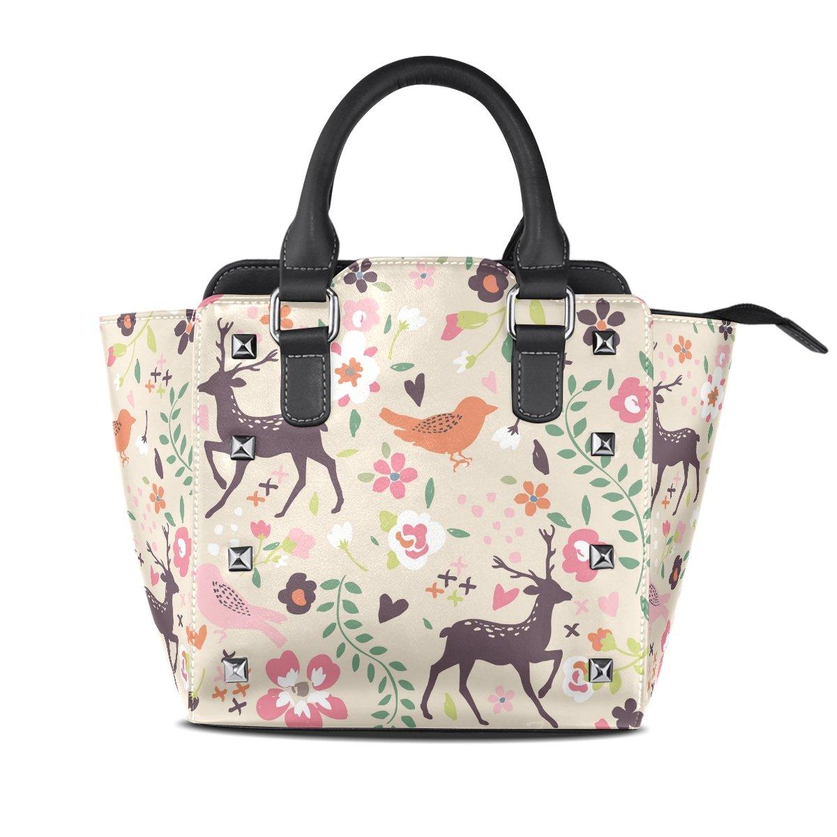 Ladies Genuine Leather Tote Bags Sika Deers Birds Womens Hangbags Shoulder Bags