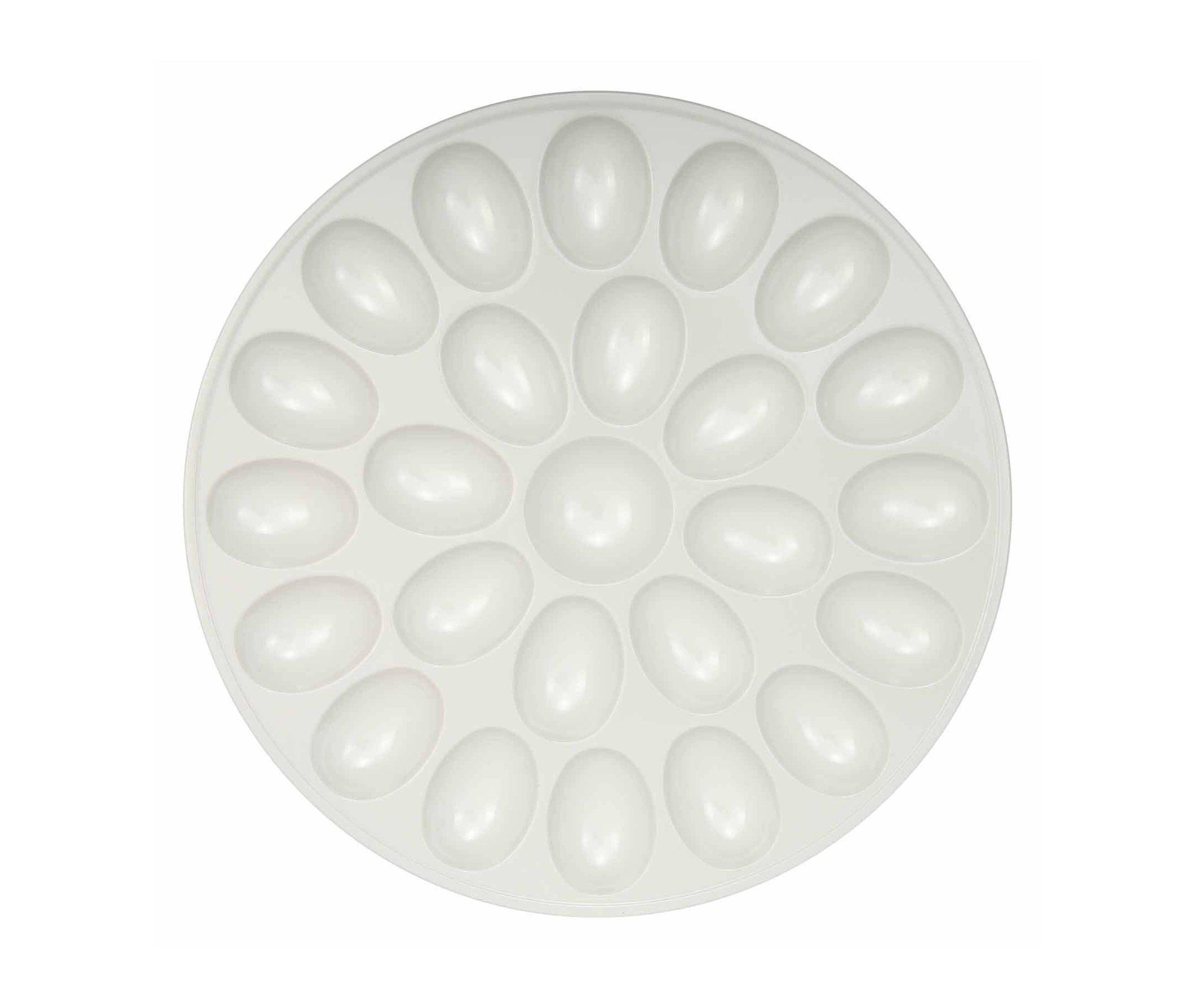 Mozlly Multipack - Zak Design White Deviled 24 Egg Tray - 12 inch diameter - Break Resistant - Serveware (Pack of 12) - Item #S139008_X12