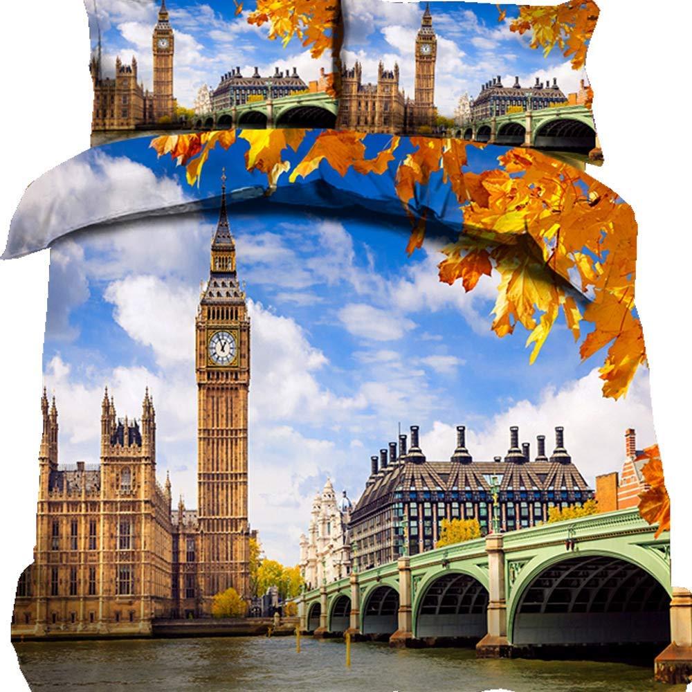 ZOMOY London/Paris 掛け布団カバーセット ツインサイズ 夜の街の景色 伝統的な地元の文化的アイコン 装飾寝具3点セット 掛け布団なし スタイル1 King 3pc(No Comforter) HUBR18011031SKQ3C10 B07QCPDY2W カラー10 King 3pc(No Comforter)