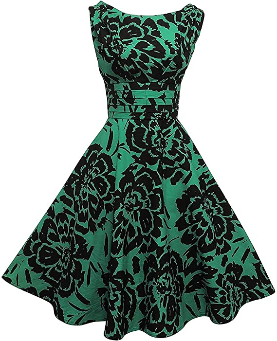 50s Dresses UK | 1950s Dresses, Shoes & Clothing Shops New Rosa Rosa 1940's 50s Style Green Black Floral Rockabilly Party Prom Dress £29.99 AT vintagedancer.com
