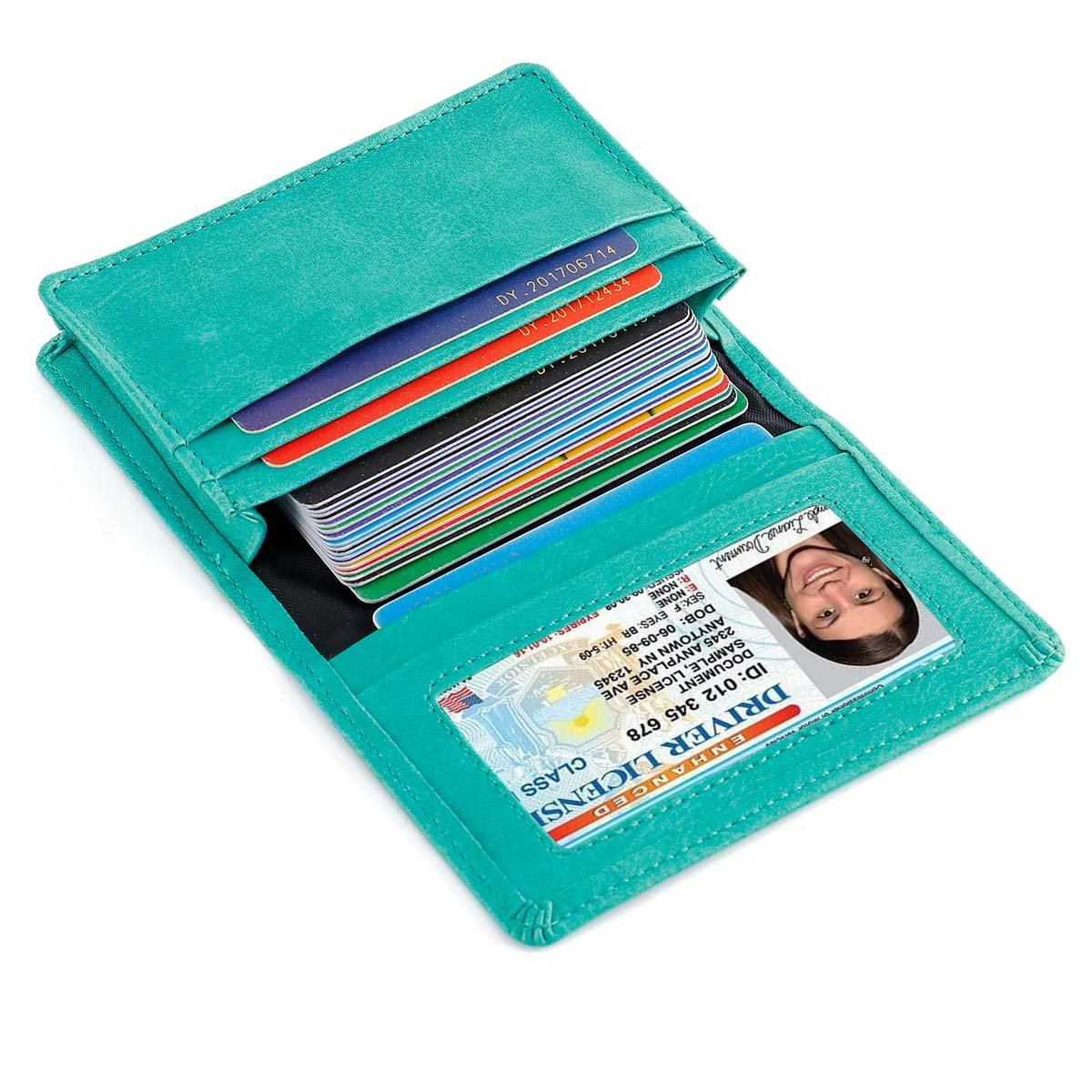 Mini Leather Credit Card Case Small Card Holder Wallet with ID Window for Men and Women (Green)
