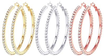 3 Pairs 60mm Big Hoop Earrings Set Women in Gold Plated Rose Gold Plated Silver