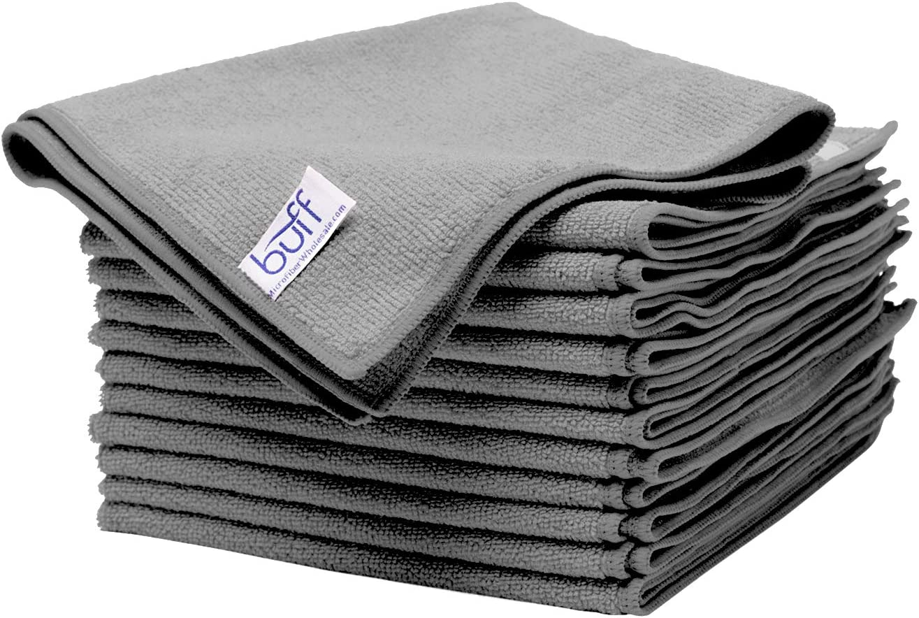 "Buff Microfiber Cleaning Cloth | Gray (12 Pack) | Size 16"" x 16"" 
