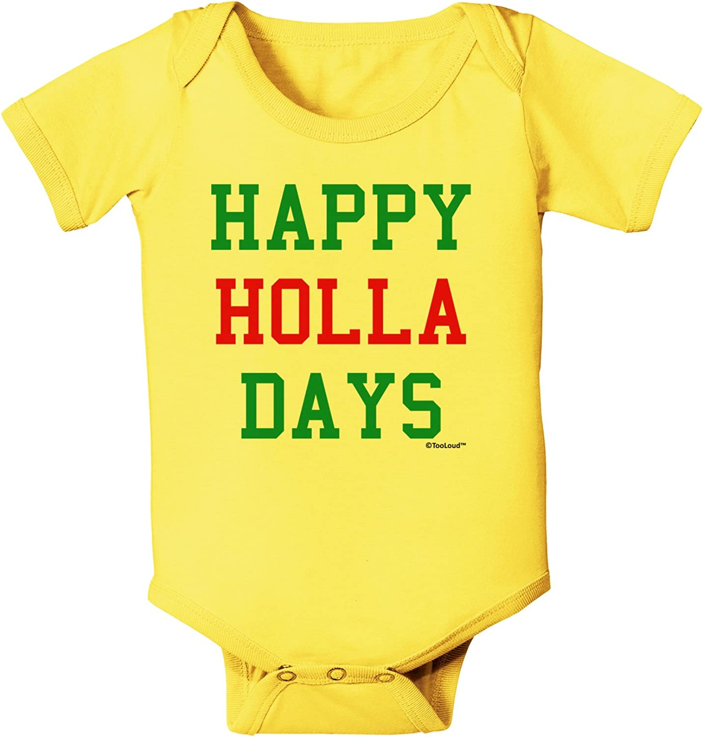TooLoud Happy Holla Days Red and Green Baby Romper Bodysuit