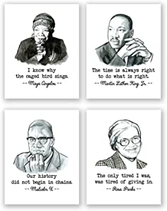 Civil Rights Posters - Set of 4 Black History Wall Art Prints // Malcolm X Poster // Rosa Parks / Maya Angelou / Martin Luther King Poster Quote / African American Art / Home Decor / Classroom (11x14)