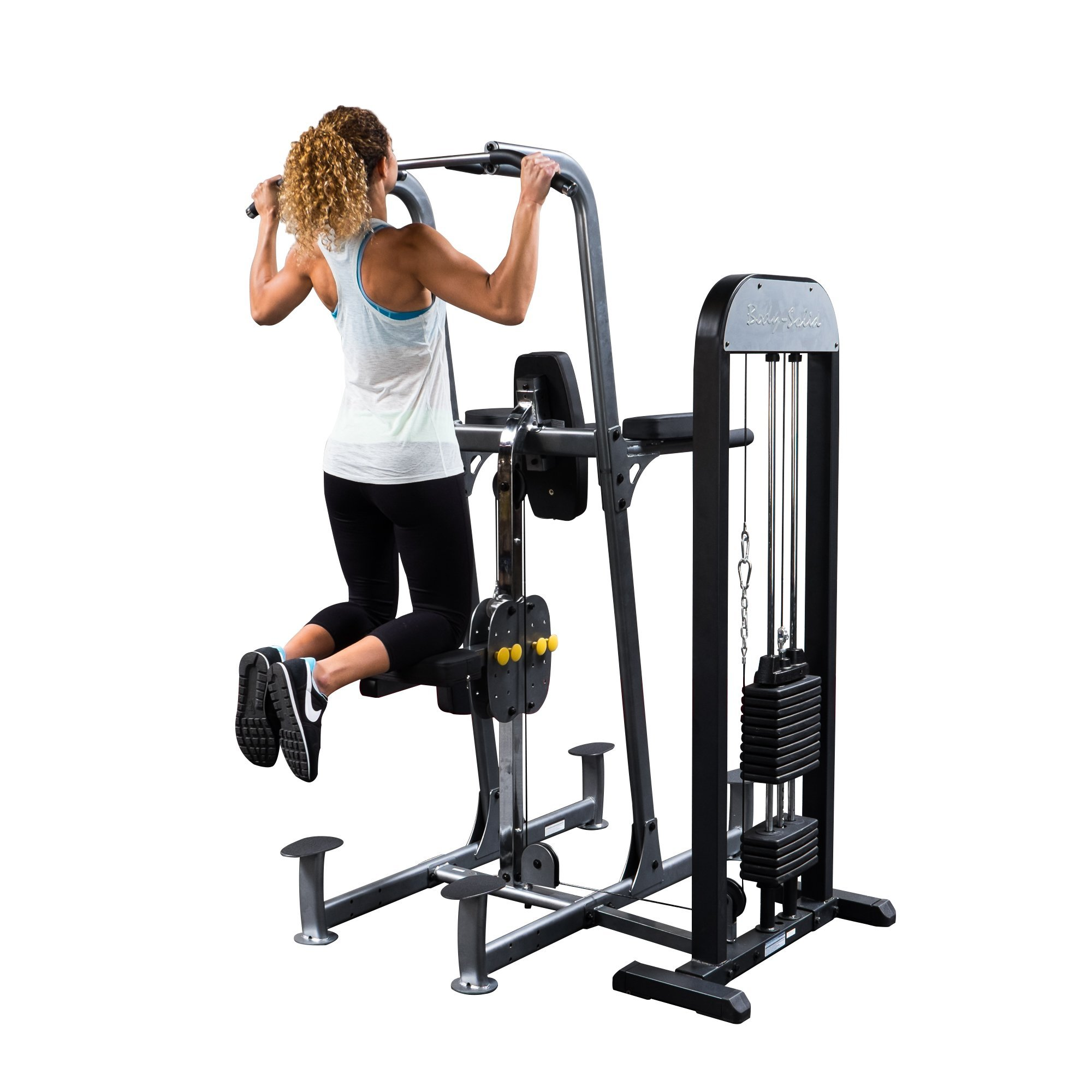 Body Solid FCDSTK3 Pro Select Weight Assisted Vertical Knee Raise Dip and Chin Station with Oval Mainframe Construction and DuraFirm Padding 310-Pound