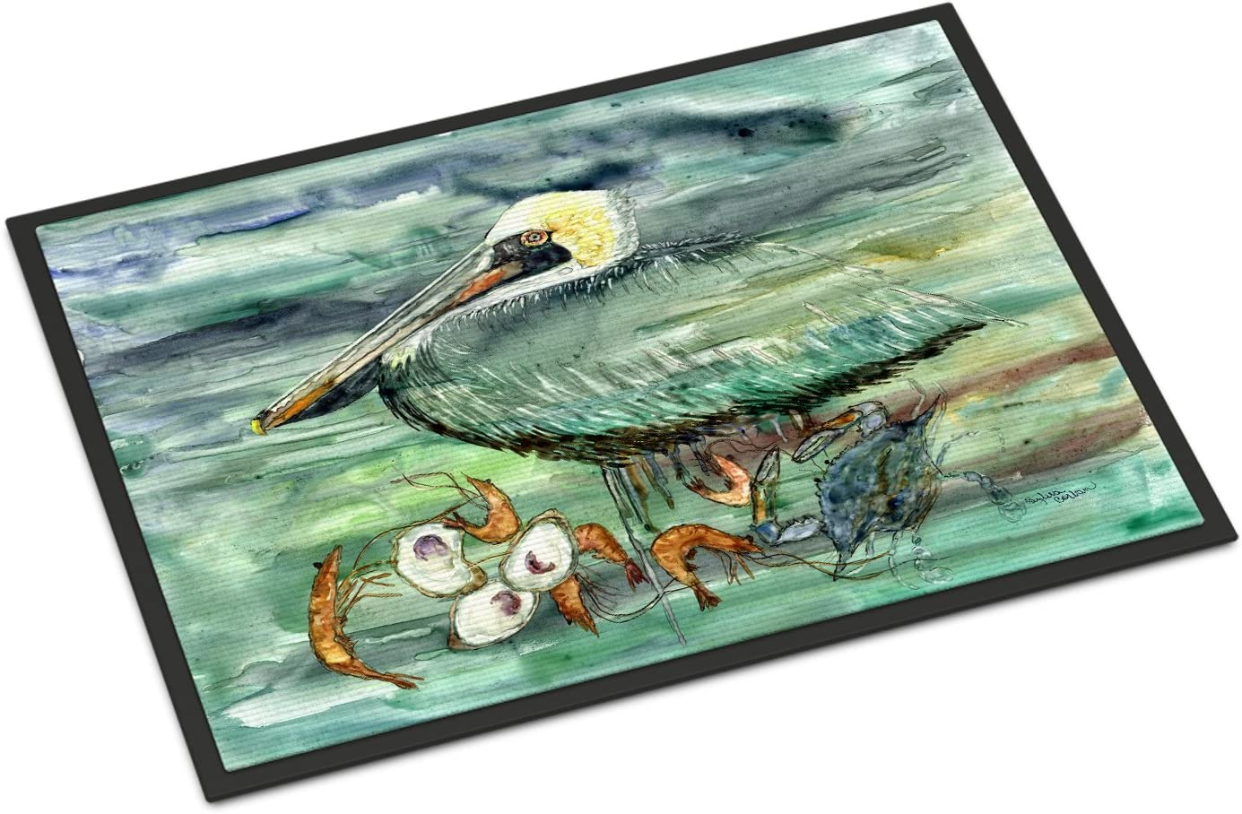 Caroline s Treasures 8978JMAT Watery Pelican, Shrimp, Crab and Oysters Indoor or Outdoor Mat 24×36, 24H X 36W, Multicolor