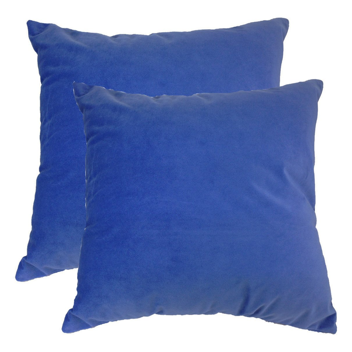 ZXKE Cushion Covers Solid Color Velvet Home Decorative Throw Pillow Cases Square 18' X 18' (Sapphire blue 2 pieces) 20363