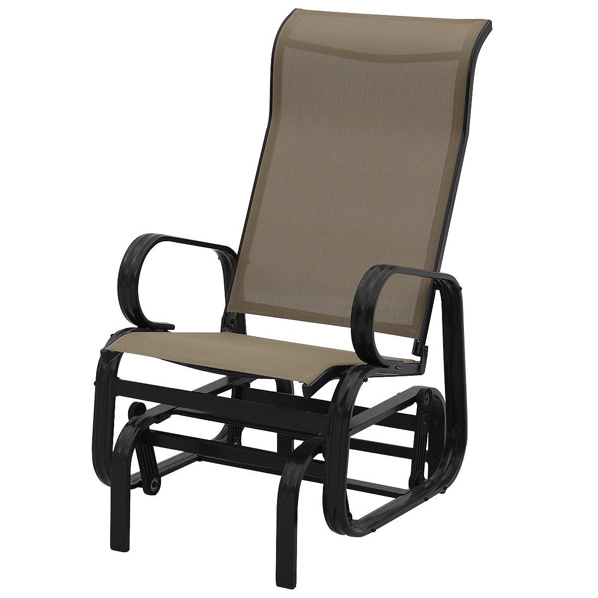 Giantex Outdoor Patio Glider Rocking Chair Bench Rocker Patio Armchair (Light Brown)