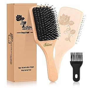 Bsisme Hair Brush-Boar Bristle Brush with Detangling Pins Wooden Paddle Detangler Hairbrush for Women Men Girls Reduce Frizz Dry Restore Natural Shine Improve Hair Texture-Brush Cleaner Tool Included