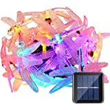 LUCKLED Dragonfly Solar String Lights, 15.7ft 20LED Christmas Fairy Garden Lights for Outdoor, Home, Lawn, Patio, Party and Holiday Decorations (Multi-Color)