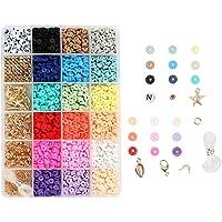 Colcolo 1 Doos Platte Polymeer Klei Kralen Losse Hanger Ringetjes Elastische Snaren voor DIY Armbanden Sieraden Maken…