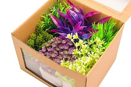 BPS (R) Planta Artificial Plástico Decoración para Pecera Acuario, incluso decoración de la