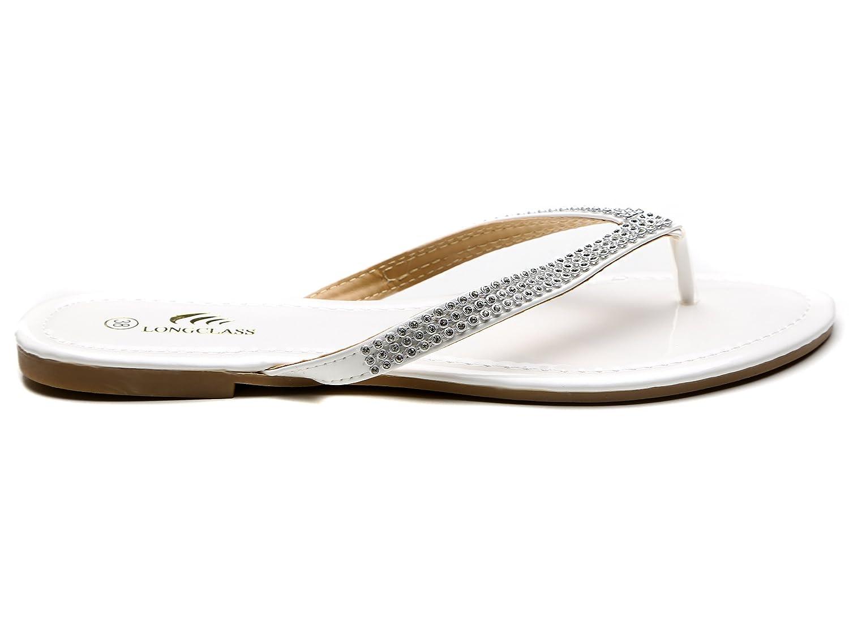 LvRao Damen Zehentrenner Sommer Sandalen Flache Peep-Toe Flip Flop Strand Schuhe Himmelblau 38 BOzGWYIw